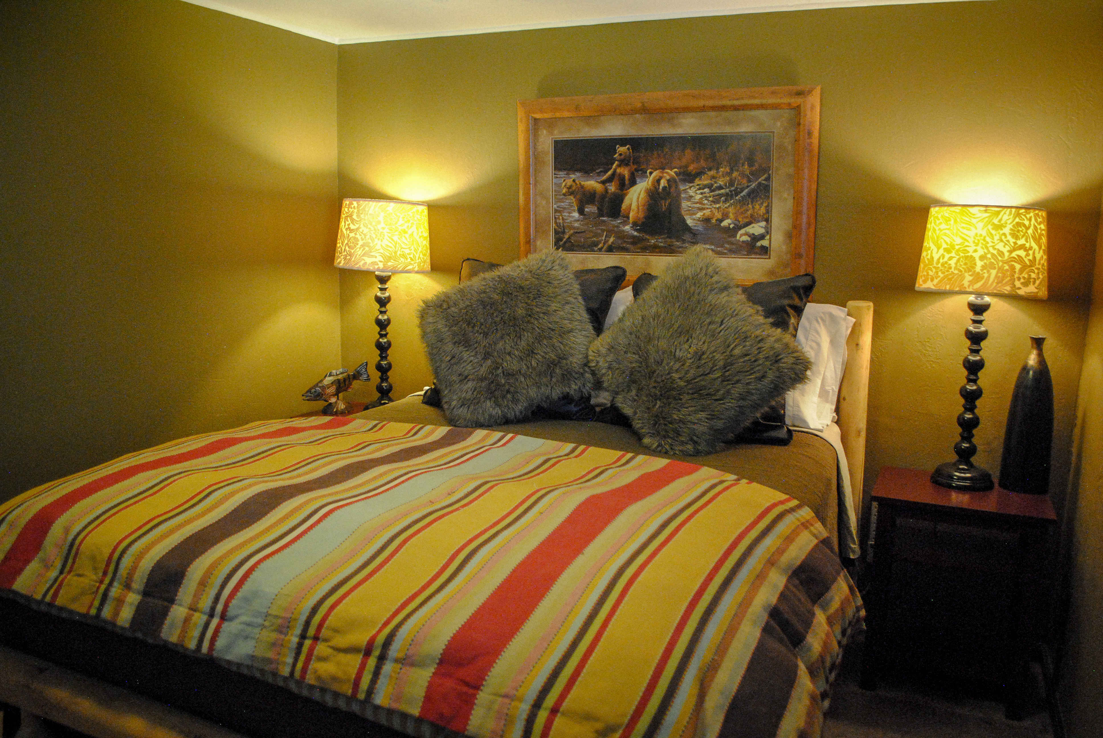 colorful bed in guest cabin bed and breakfast bnb