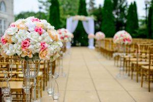 flowers on aisle of wedding location